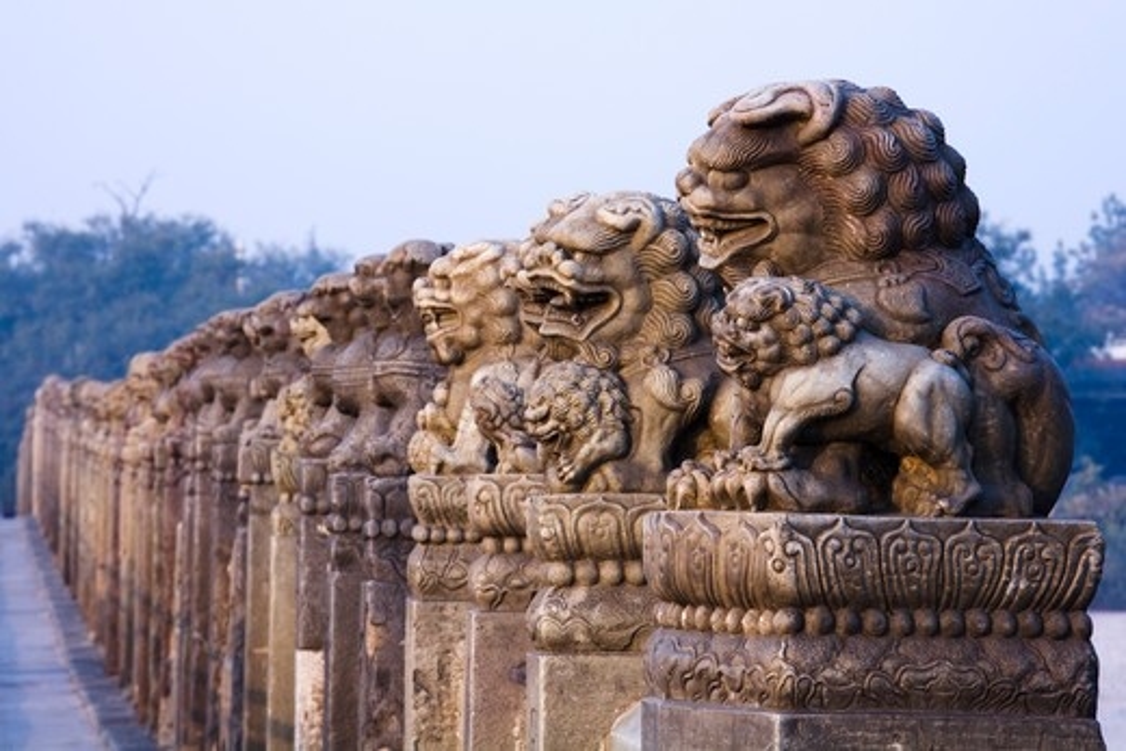 Stock Photo: 1269-3030 Imperial lions' statues on a bridge, Marco Polo Bridge, Beijing, China