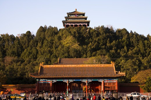 Tourists in front of building, Jingshan Park, Beijing, China : Stock Photo