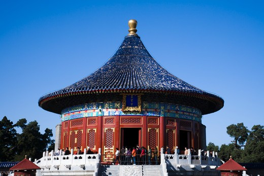 Tourists at a temple, Imperial Vault Of Heaven, Temple Of Heaven, Beijing, China : Stock Photo