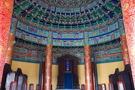 Interiors of a temple, Imperial Vault Of Heaven, Temple Of Heaven, Beijing, China : Stock Photo
