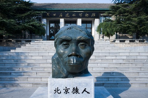 Stock Photo: 1269-3058 Sculpture of Peking man in front of a museum, Peking man Museum, Zhoukoudian Site, Zhoukoudian, Beijing, China