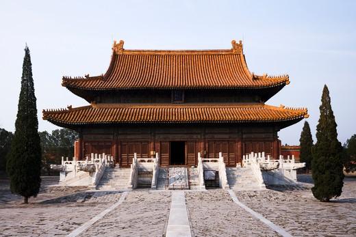 Facade of a mausoleum, Western Qing Tombs, Hebei Province, China : Stock Photo