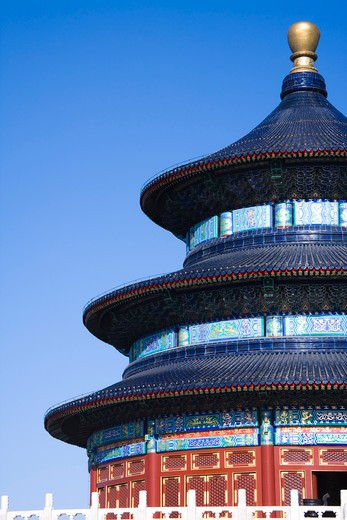Low angle view of a temple, Hall Of Prayer For Good Harvests, Temple Of Heaven, Beijing, China : Stock Photo