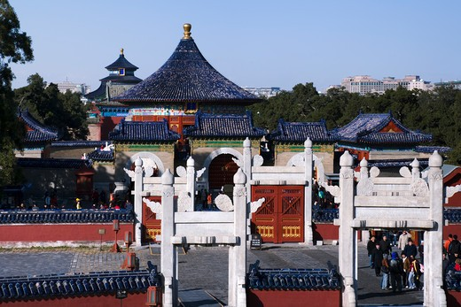 Architectural details of a temple, Imperial Vault of Heaven, Temple Of Heaven, Beijing, China : Stock Photo