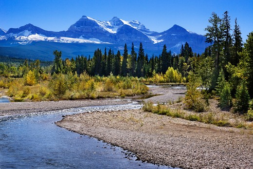 Creek flowing through a landscape with mountain range in the background, Waterton Lakes National Park, Alberta, Canada : Stock Photo