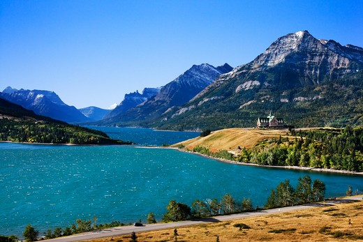 Hotel at the lakeside, Prince of Wales Hotel, Upper Waterton Lake, Waterton Lakes National Park, Alberta, Canada : Stock Photo
