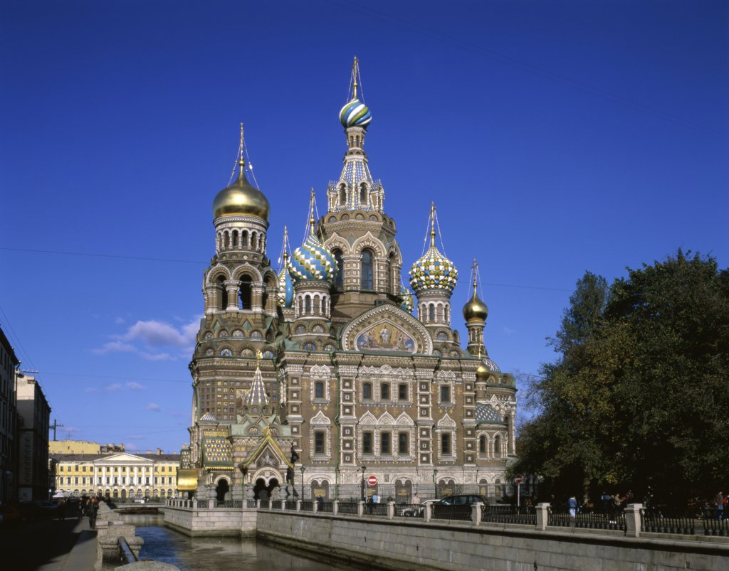 Facade of a church, Church of the Resurrection of Christ, St. Petersburg, Russia : Stock Photo