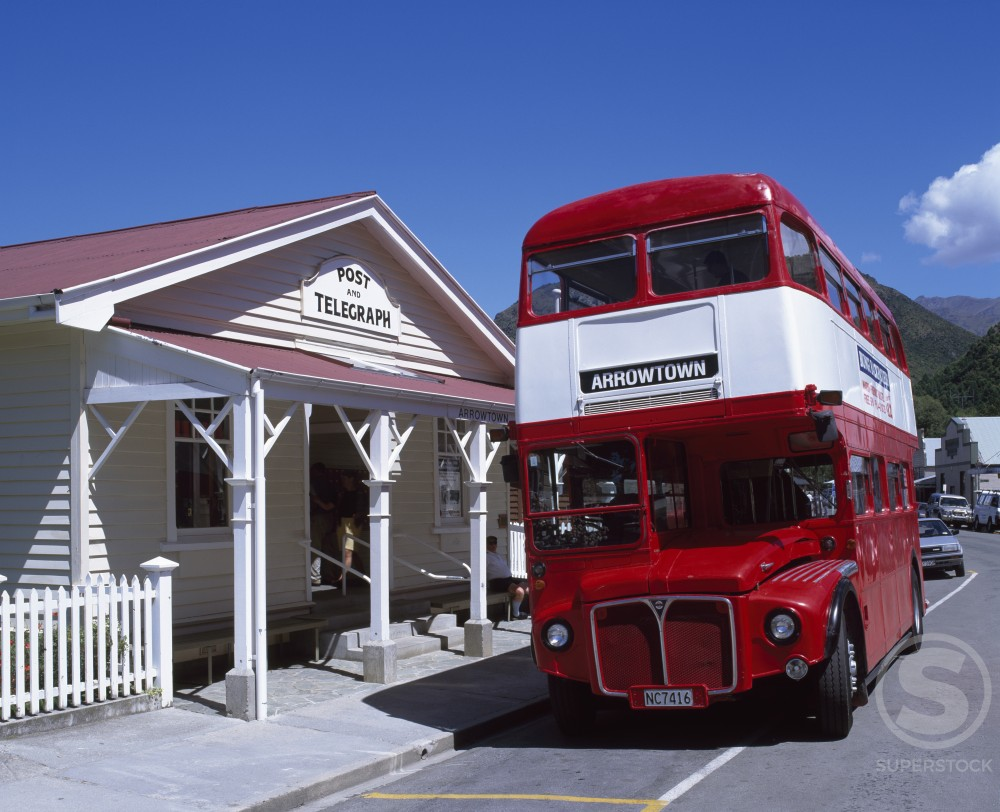 Stock Photo: 1269-446 Double-decker bus on a road, Queenstown, New Zealand
