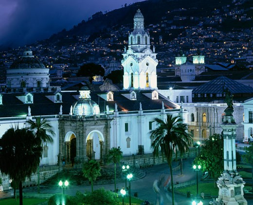 High angle view of a cathedral lit up at night, Plaza de la Independencia, Quito, Ecuador : Stock Photo
