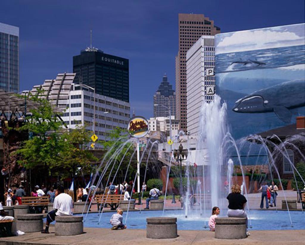 Fountain in front of a shopping mall, Underground Atlanta, Atlanta, Georgia, USA : Stock Photo
