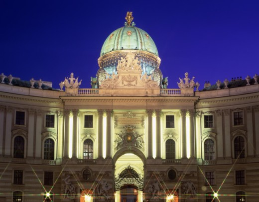 Ancient building lit up at night, Hofburg, Vienna, Austria : Stock Photo