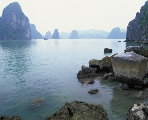 Rock formations in the sea, Ha Long Bay, Vietnam : Stock Photo