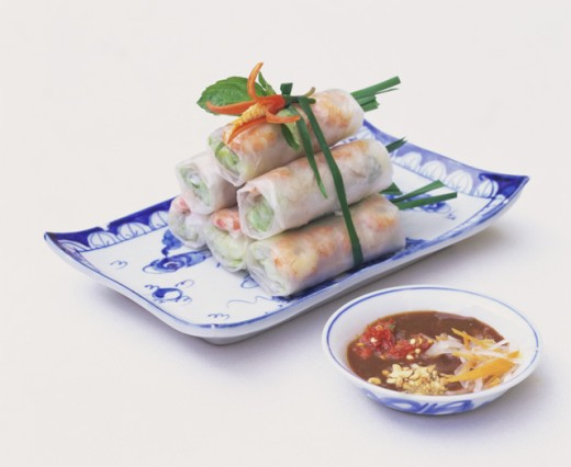 Close-up of Vietnamese Shrimp Spring Rolls on a tray : Stock Photo