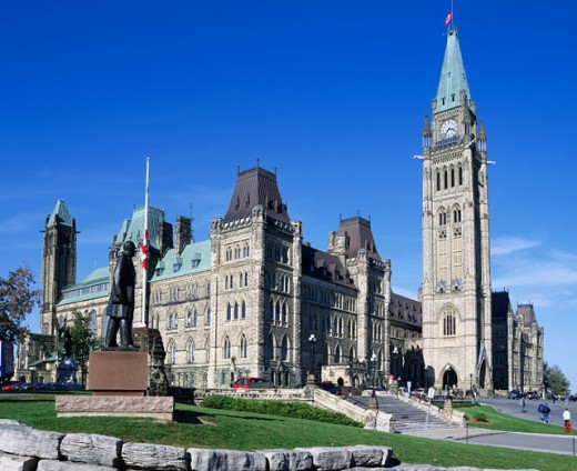 Stock Photo: 1269-870 Low angle view of a government building, Parliament Hill, Ottawa, Ontario, Canada