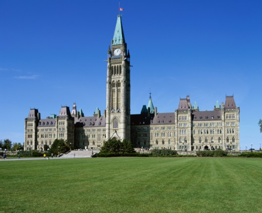 Stock Photo: 1269-873B Facade of a government building, Parliament Hill, Ottawa, Ontario, Canada