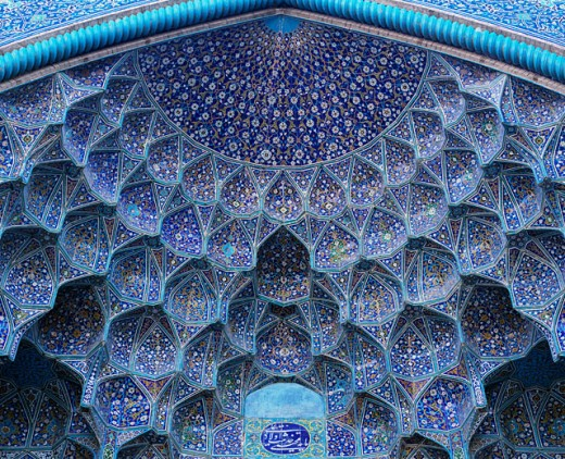 Stock Photo: 1269-958 Ceiling of the Sheikh Lotfallah Mosque, Esfahan, Iran