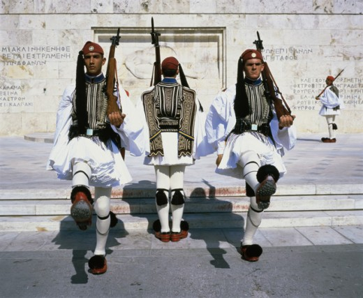 Stock Photo: 1269-W1413A Guards with rifles marching, Athens, Greece