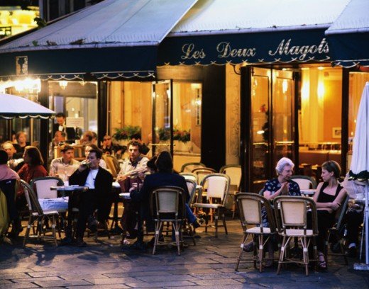 Stock Photo: 1269-W193 People at the Les Deux Magots Cafe, Paris, France