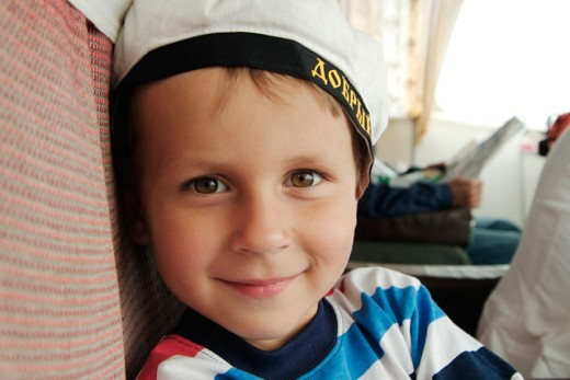 Stock Photo: 1269-W2040 Portrait of a boy smiling, Russia
