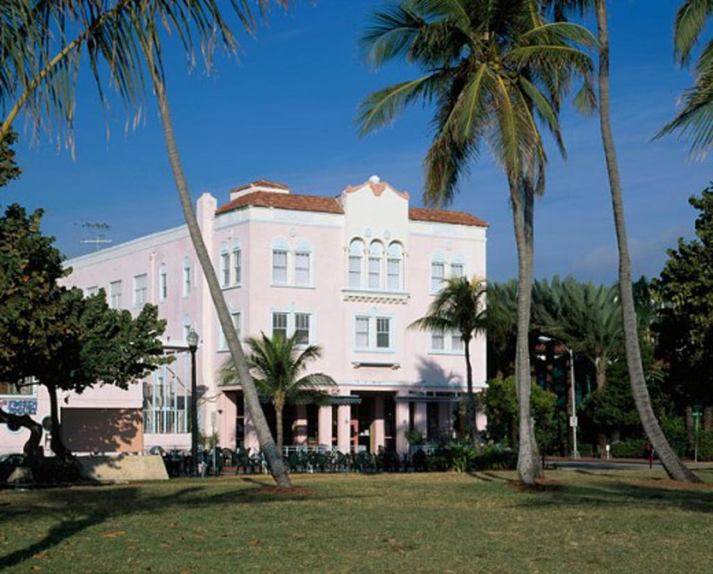 Facade of a hotel, Adrian Hotel, Ocean Drive, Miami Beach, Florida, USA : Stock Photo