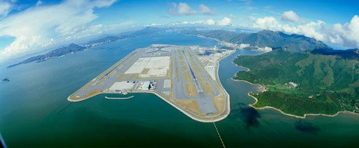 Aerial view of an airport, Hong Kong International Airport, Chek Lap Kok, Hong Kong, China : Stock Photo