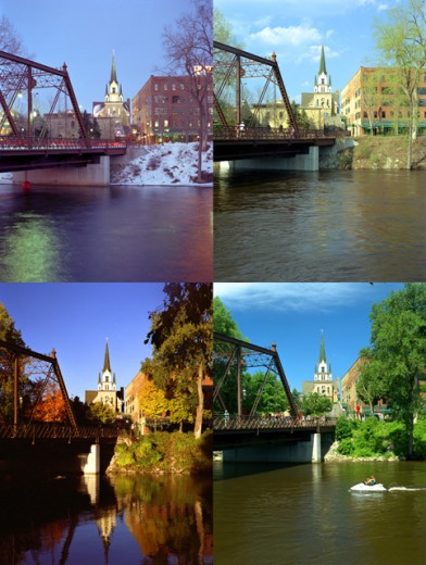 Four views of a bridge during the different seasons of the year, Minneapolis, Minnesota, USA : Stock Photo