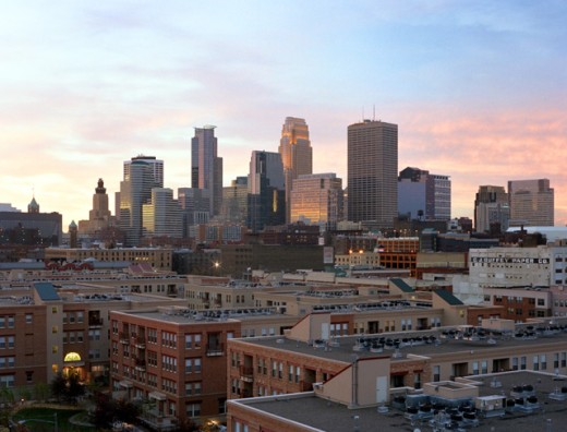 Stock Photo: 1280-308 High angle view of buildings in a city, Minneapolis, Minnesota, USA