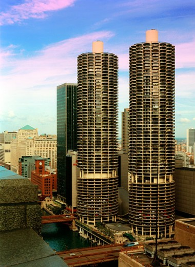 Stock Photo: 1280-365 High angle view of buildings in a city, Chicago, Illinois, USA
