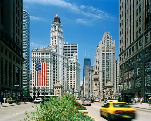 Stock Photo: 1280-382 Buildings along a road in a city, Michigan Avenue, Chicago, Illinois, USA