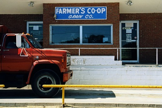 Truck driving onto scales, Farmers Cooperative Grain Company, Abbyville, Kansas, USA : Stock Photo