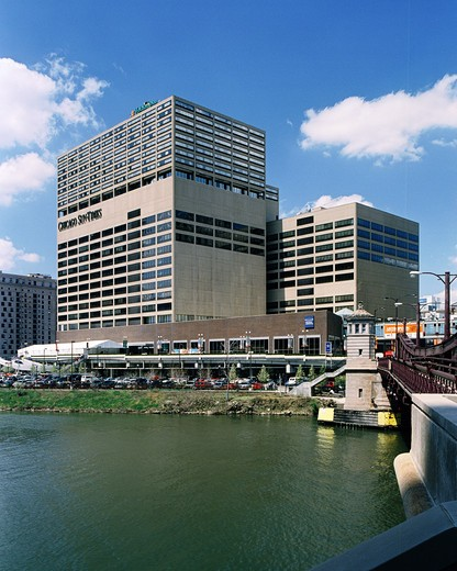 Buildings in a city, 350 West Mart Center, Franklin-Orleans Street Bridge, Chicago River, Chicago, Illinois, USA : Stock Photo