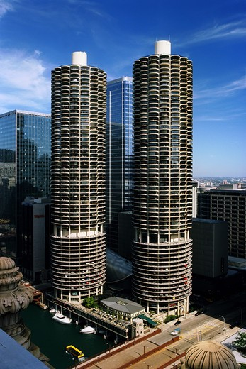 Skyscrapers in a city, Marina City, State Street, Chicago River, Chicago, Illinois, USA : Stock Photo