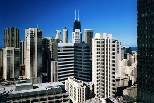 Skyscrapers in a city, Hancock Building, Michigan Avenue, Streeterville, Chicago, Illinois, USA : Stock Photo