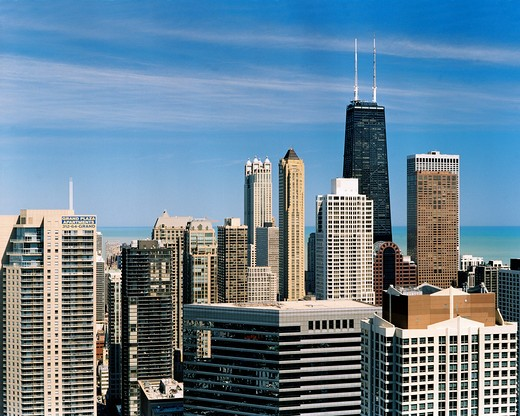 Stock Photo: 1280-406 Skyscrapers in a city, Hancock Building, Michigan Avenue, Streeterville, Chicago, Illinois, USA