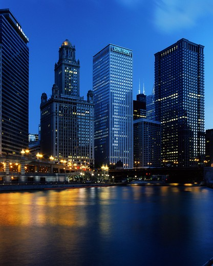 Skyscrapers in a city, LaSalle Street, Chicago River, Chicago, Illinois, USA : Stock Photo