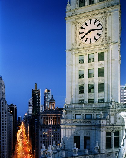 Skyscrapers in a city, Wrigley Building, Chicago, Illinois, USA : Stock Photo