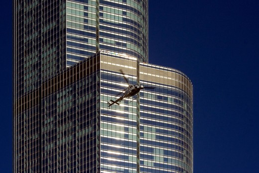 Stock Photo: 1280-414 Helicopter filming from the round camera mount on the front, Trump International Hotel And Tower, Chicago, Illinois, USA