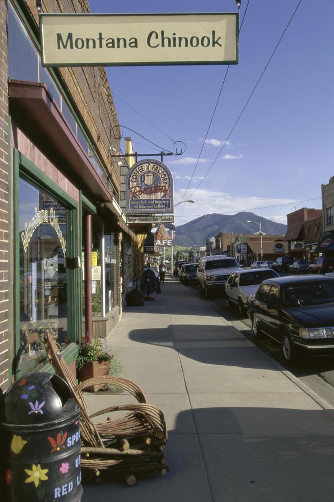 Sidewalk at Red Lodge, Montana, USA : Stock Photo