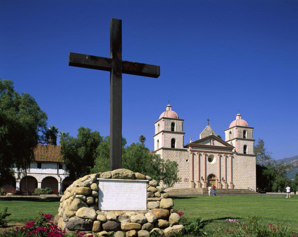 Stock Photo: 1288-1003 Cross in front of a church, Mission Santa Barbara, Santa Barbara, California, USA
