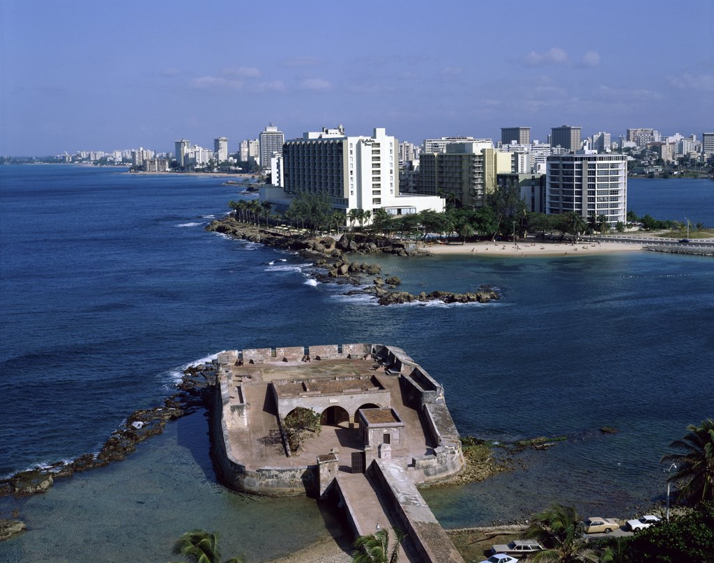 Aerial view of a fort, Fort San Jeronimo, San Juan, Puerto Rico : Stock Photo