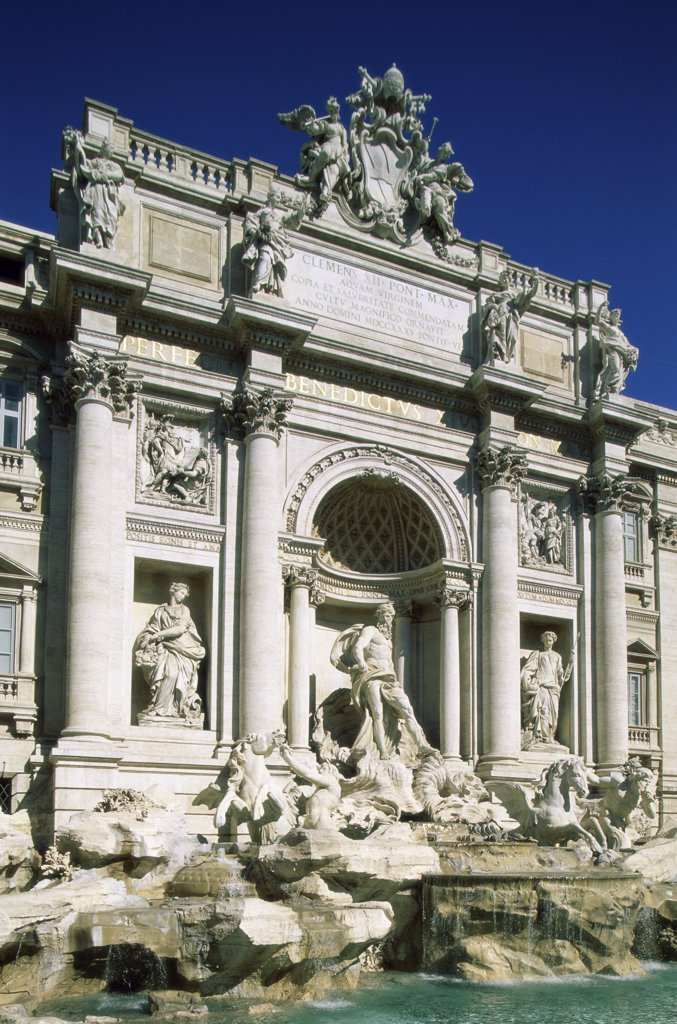 Stock Photo: 1288-1304 Fountain in front of a building, Trevi Fountain, Rome, Italy