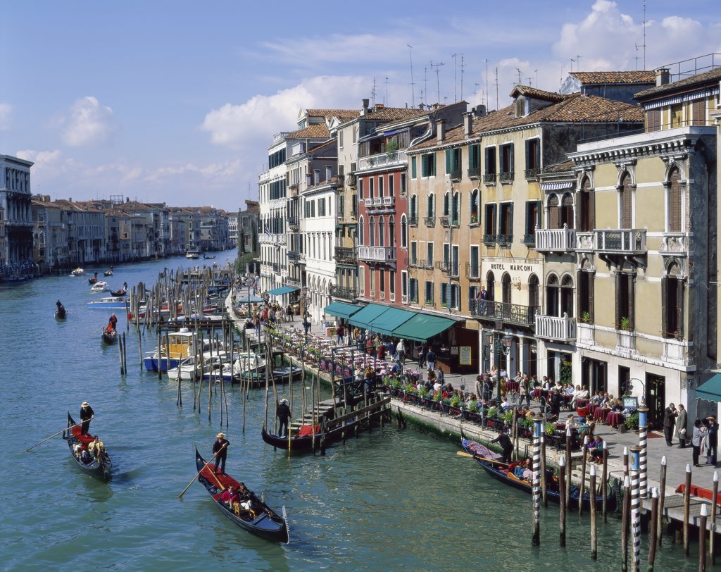 Stock Photo: 1288-1325A High angle view of boats in a canal, Grand Canal, Venice, Italy