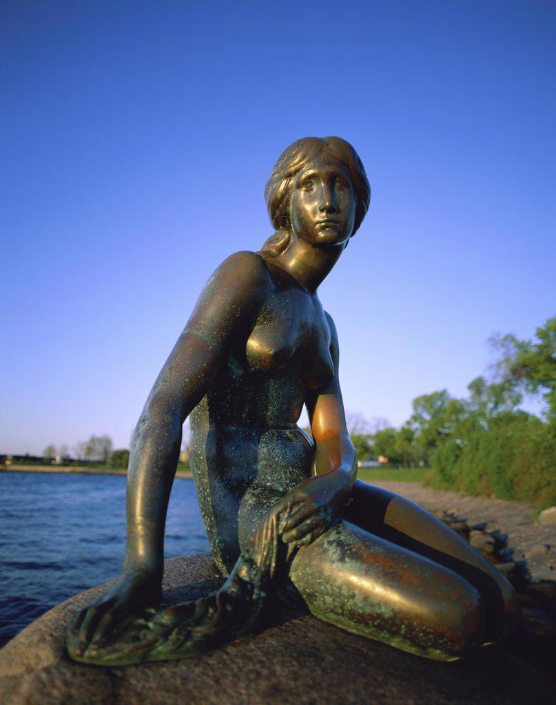 Stock Photo: 1288-1348 Side profile of the Little Mermaid statue, Copenhagen, Denmark