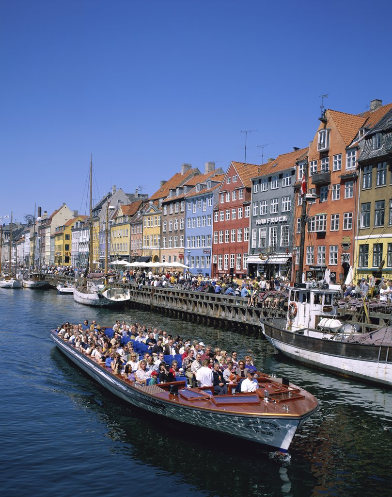 Tourists in a tourboat, Nyhavn, Copenhagen, Denmark : Stock Photo