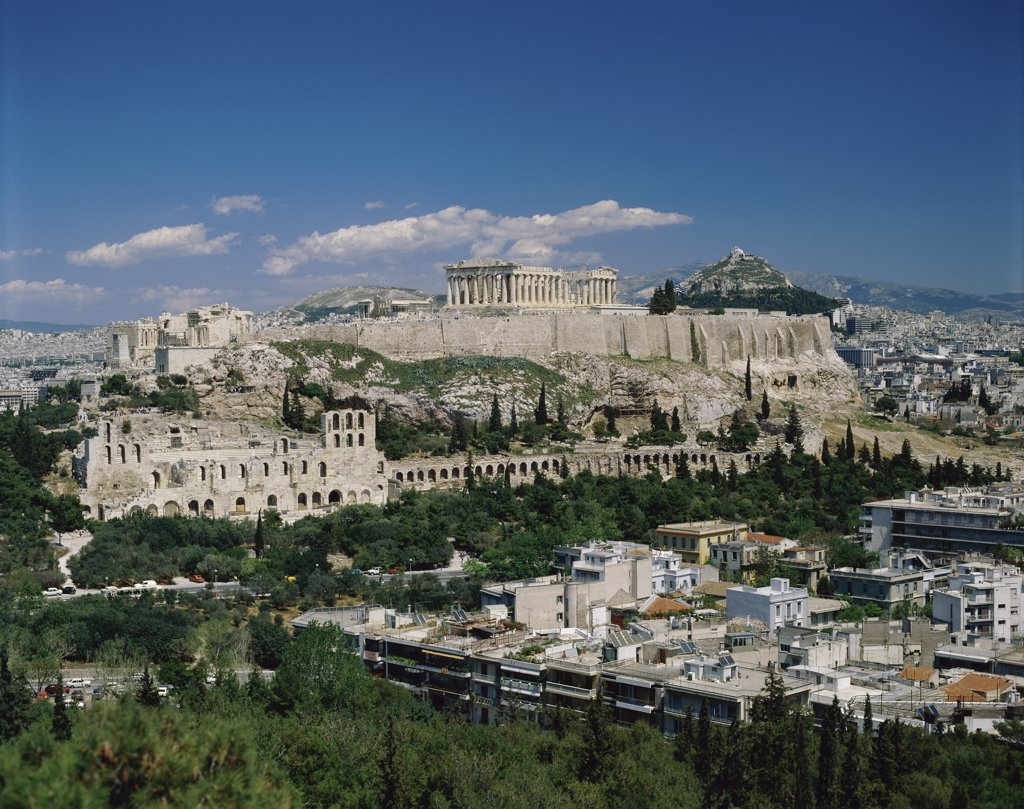 Stock Photo: 1288-1378 High angle view of buildings in a city, Acropolis, Athens, Greece