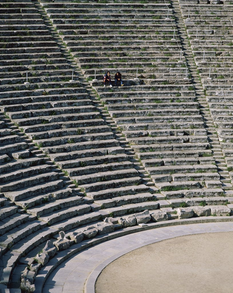 Stock Photo: 1288-1386 High angle view of steps of an ancient amphitheater, Epidaurus, Greece