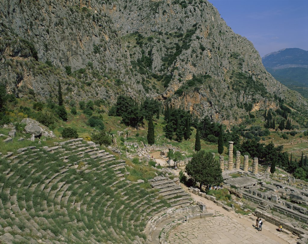 High angle view of an amphitheater, Temple of Apollo, Delphi, Greece : Stock Photo