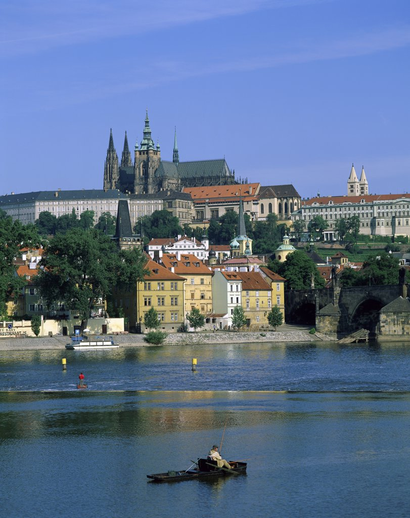 Buildings on the waterfront, St. Vitus Cathedral, Hradcany Castle, Vltava River, Prague, Czech Republic : Stock Photo