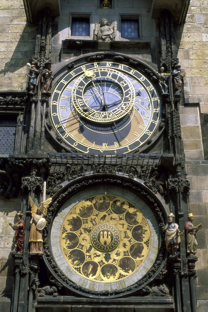 Stock Photo: 1288-1453 Close-up of an astronomical clock, Prague Town Hall, Prague, Czech Republic