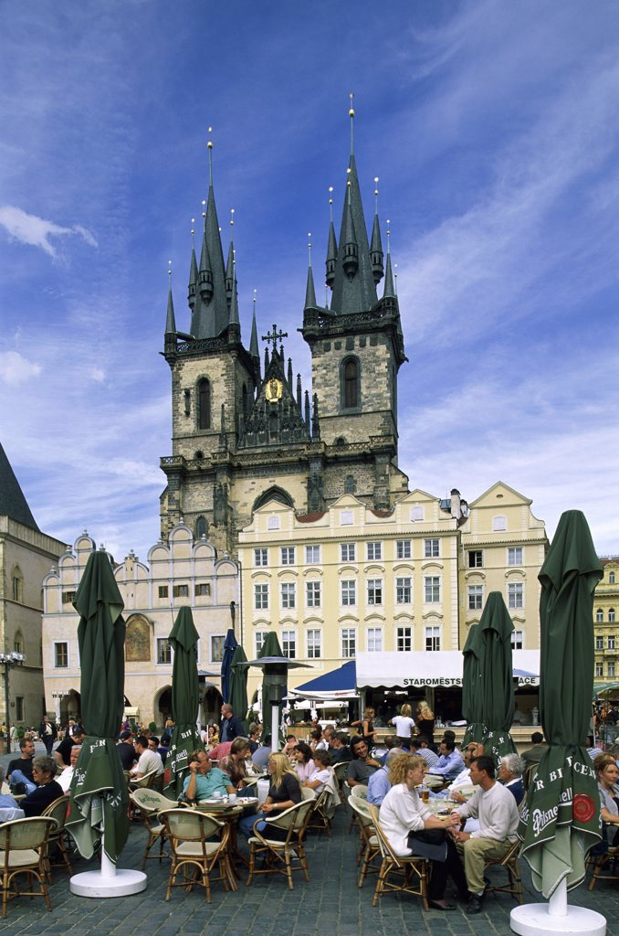 Low angle view of a church, Tyn Church, Prague, Czech Republic : Stock Photo